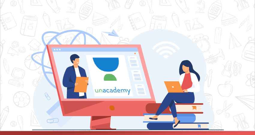 A person is having an online class from Unacademy