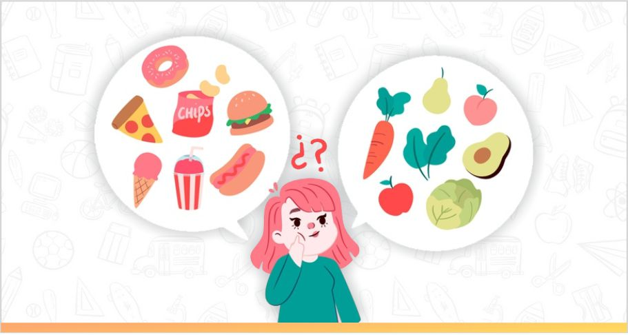 a girl is confused between junk food and healthy food
