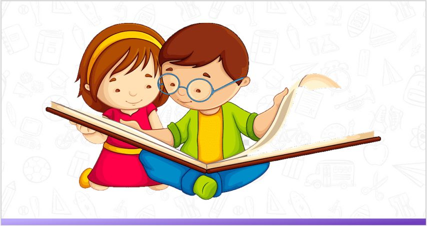 Two children are sharing one book