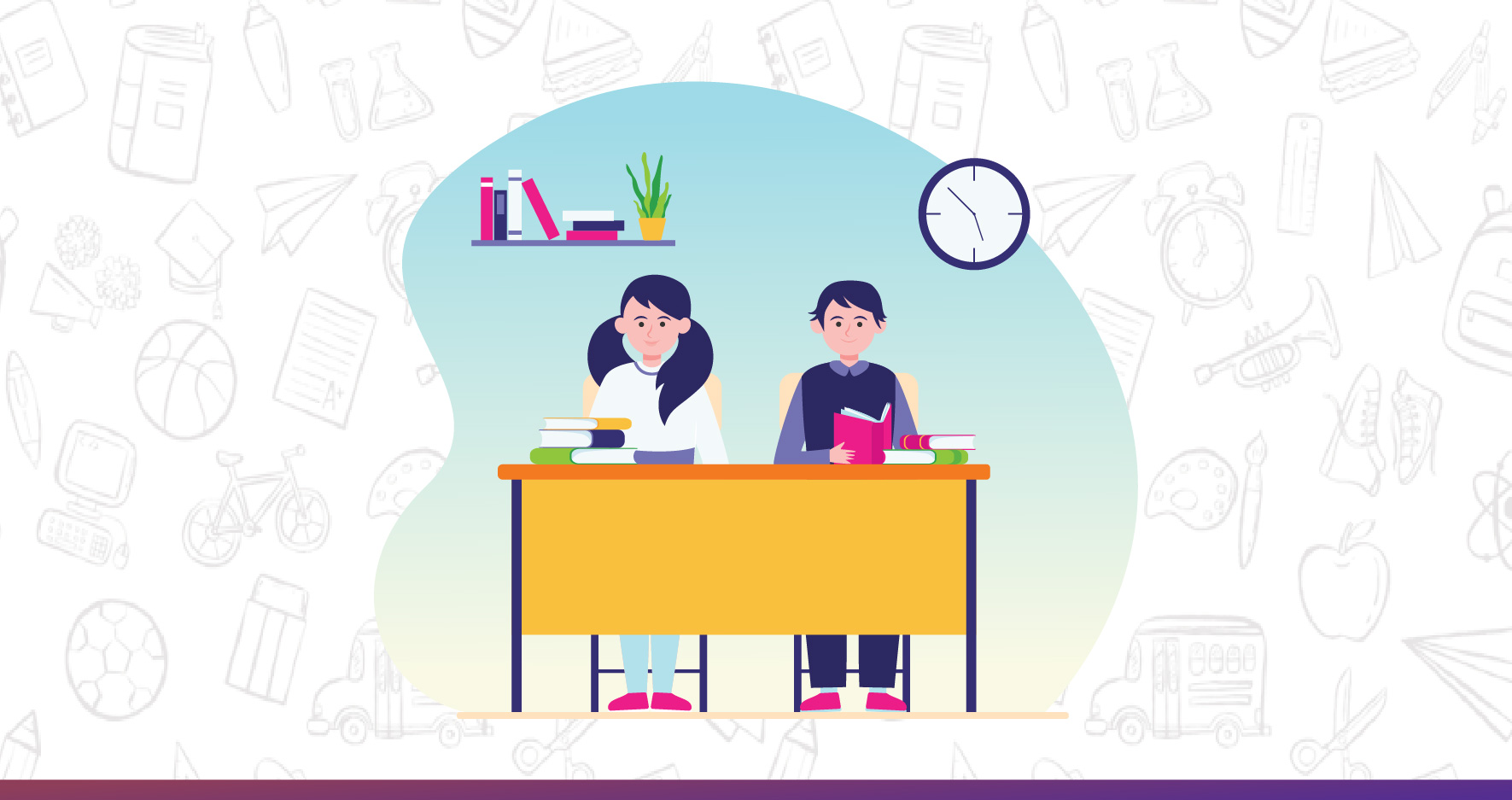 two kids sitting on the study table