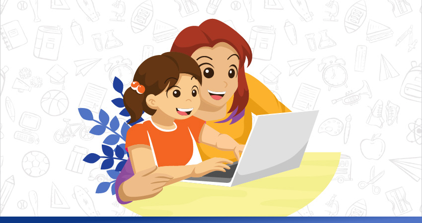 a mother is helping his son in online classes