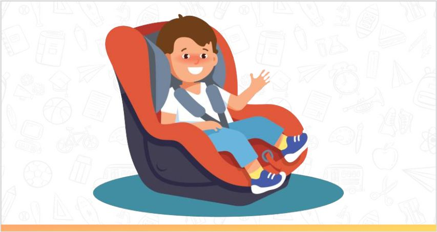 a child is sitting in a forward facing seat