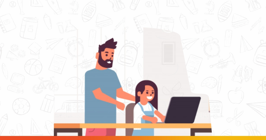 father helping kid with her virtual learning classes