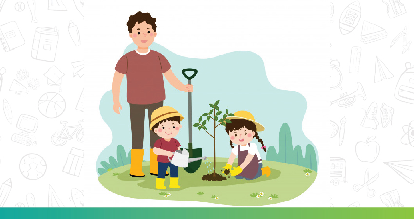 Father and daughter can be seen gardening together