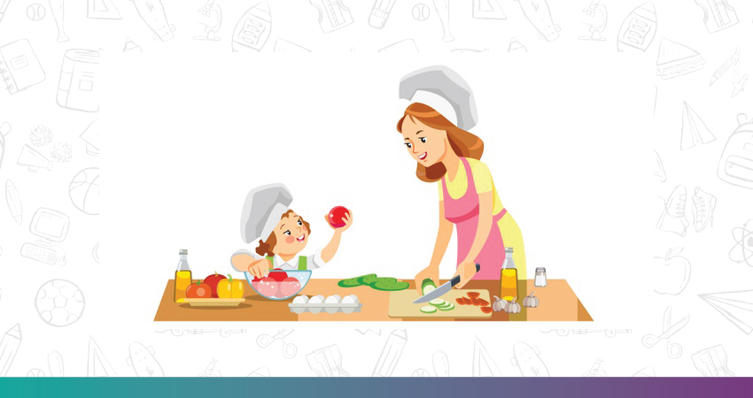 A kid baking with her mother