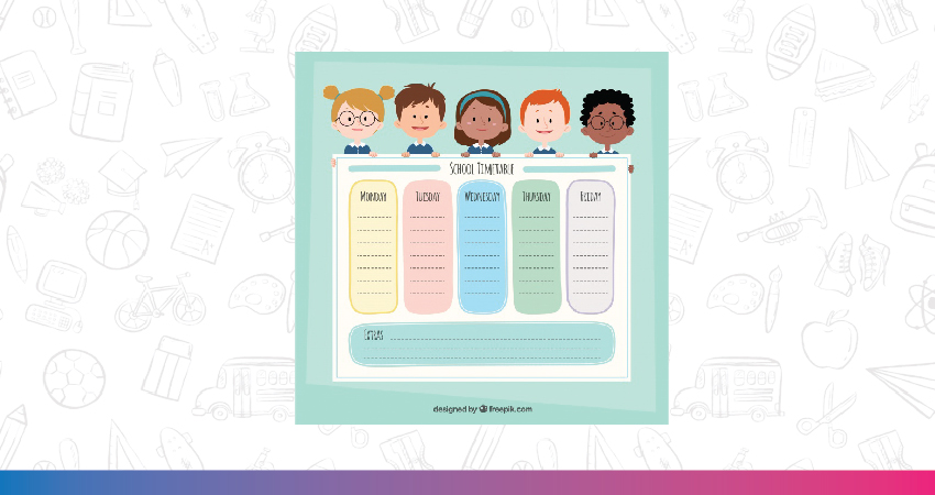 Monthly planner for kids