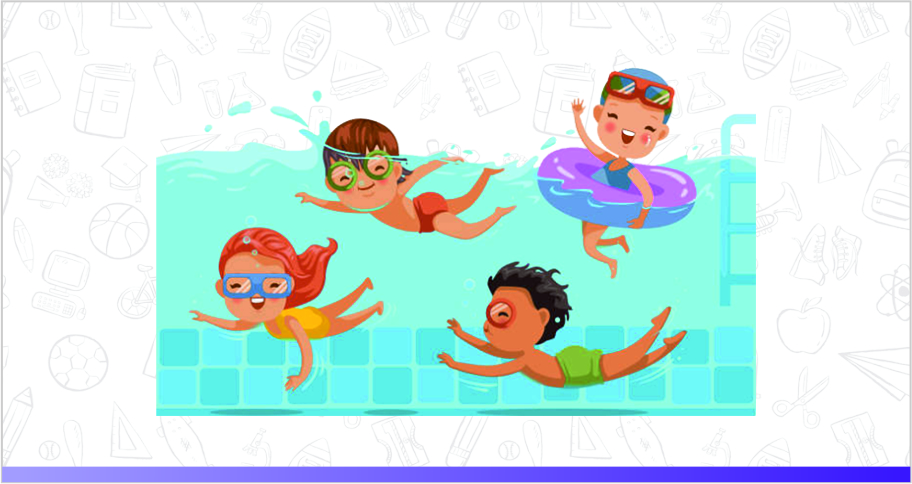 Three toddlers having fun together and socializing in a pool