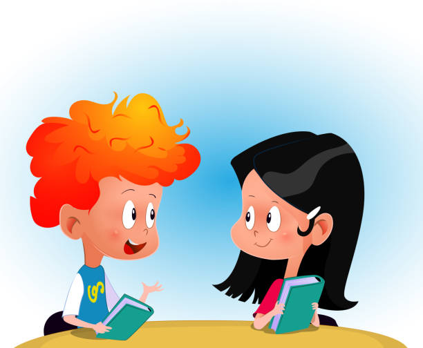 Cartoon boy and girl discussing some book