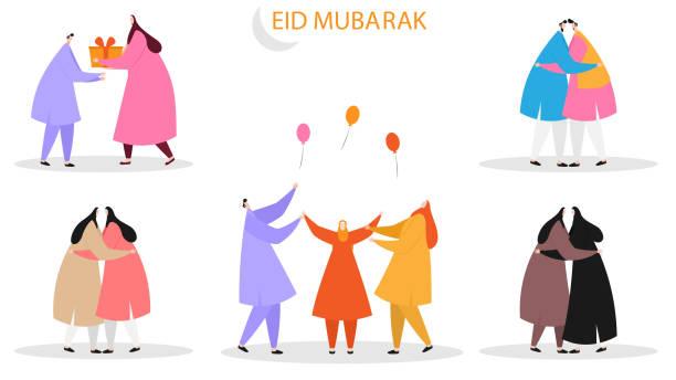 Set of Islamic  characters celebrating Eid Mubarak Festival