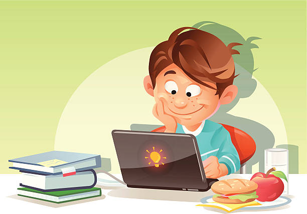 Concept for children and computers, children and healthy food
