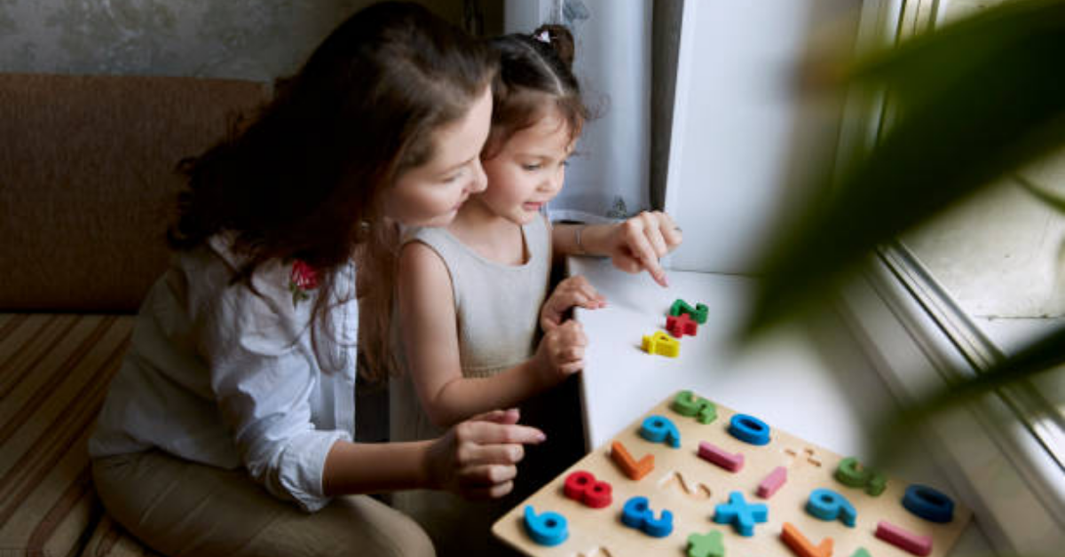 mom and child playing math games