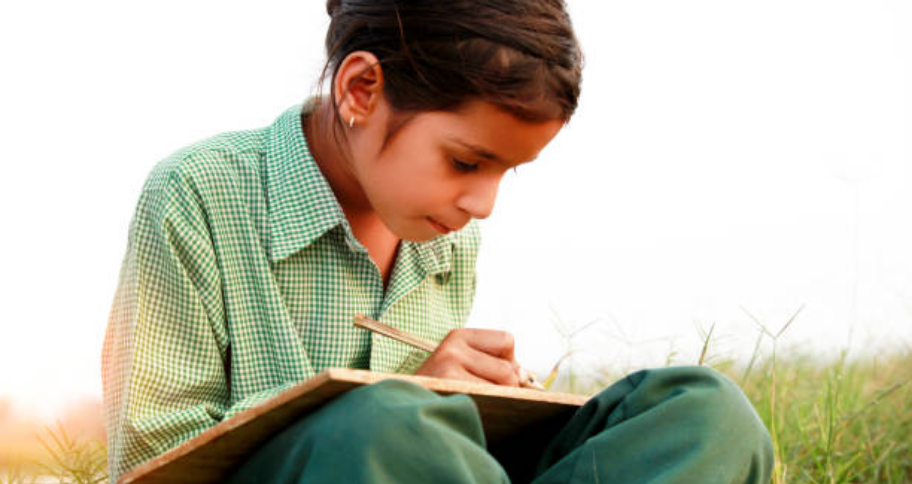 a child studying