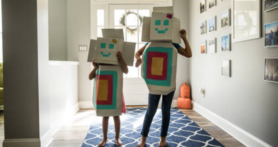 a  mother and child make costumes