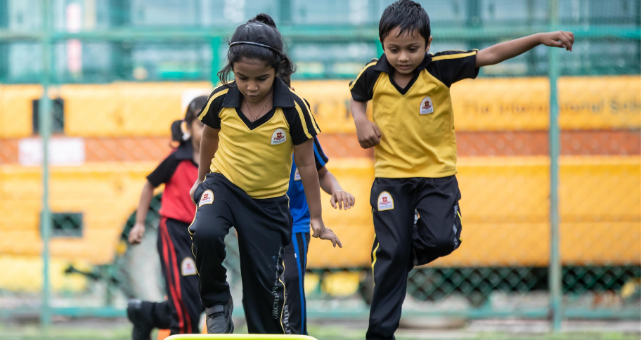 kids busy with physical education in India