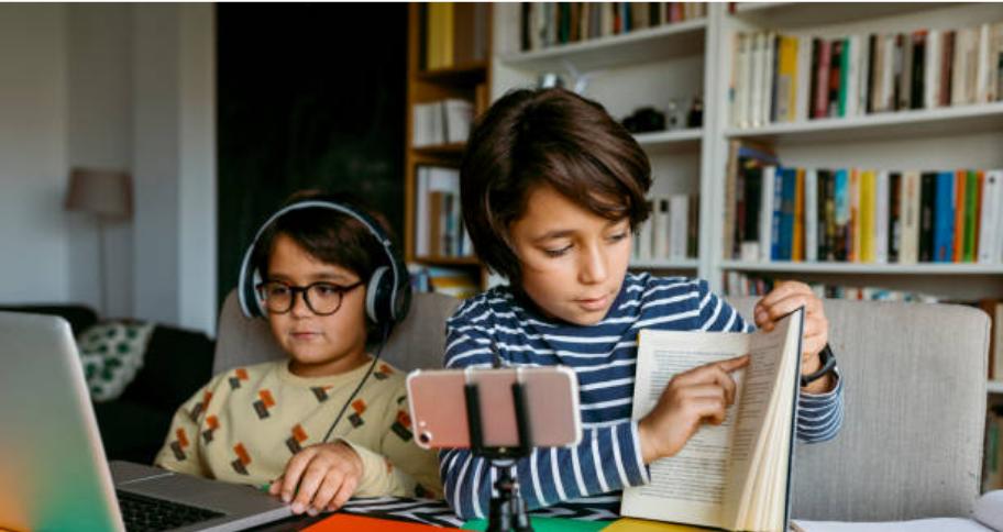 two boys studying through Virtual Classroom