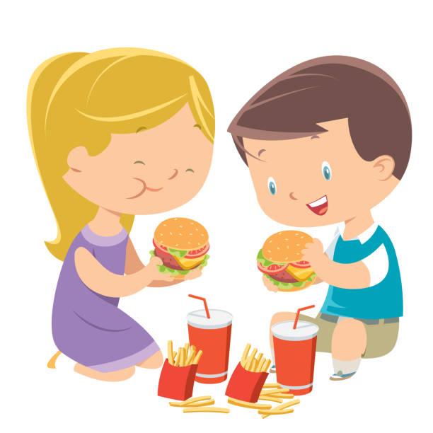 children eating hamburgers is an unhealthy food habit