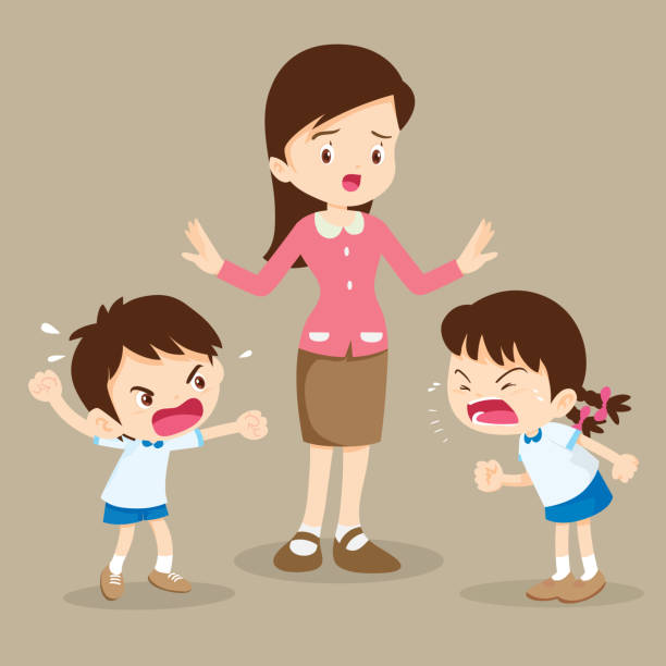 mother tried to stop the children shouting to each other- Sibling Rivalry