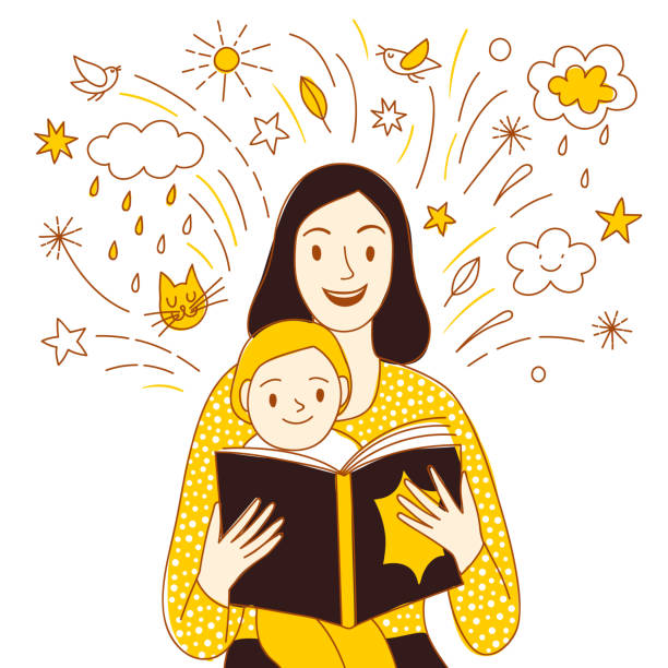 Mother and child reading a book together