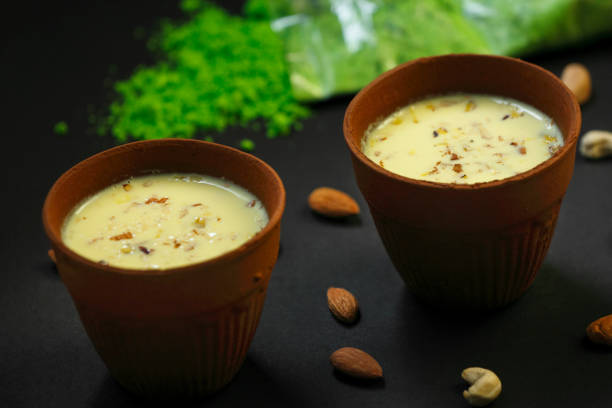 Indian drink- Thandai served cold with almonds,saffron,milk during summer