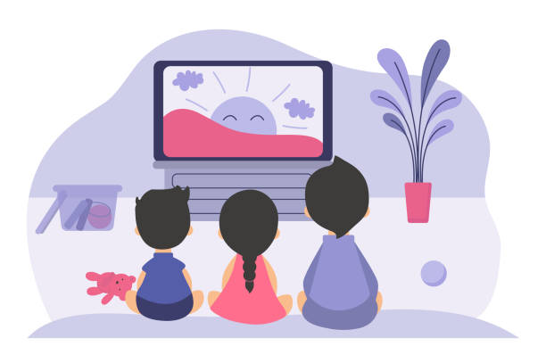 Boys and girls sitting at TV screen and watching cartoon movie for children