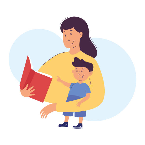 Mom and son reading or studying  together