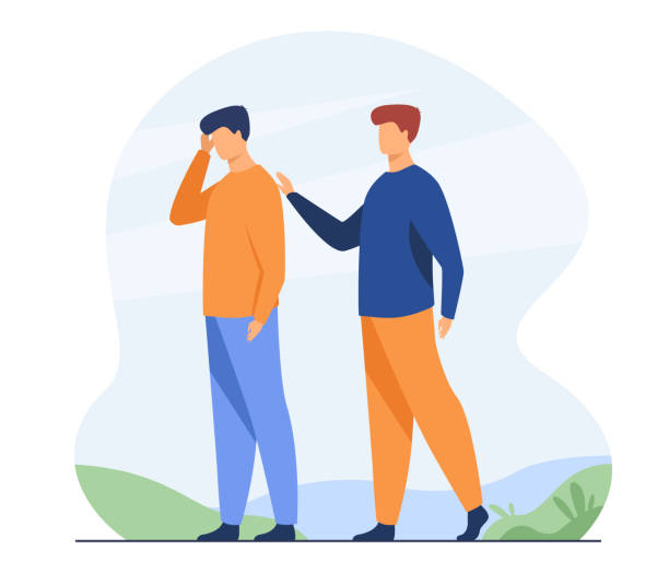 Man giving comfort to upset friend