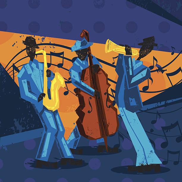 A jazz band with a trumpet player, bassist, and saxophonist over a decorative grunge on this international jazz day