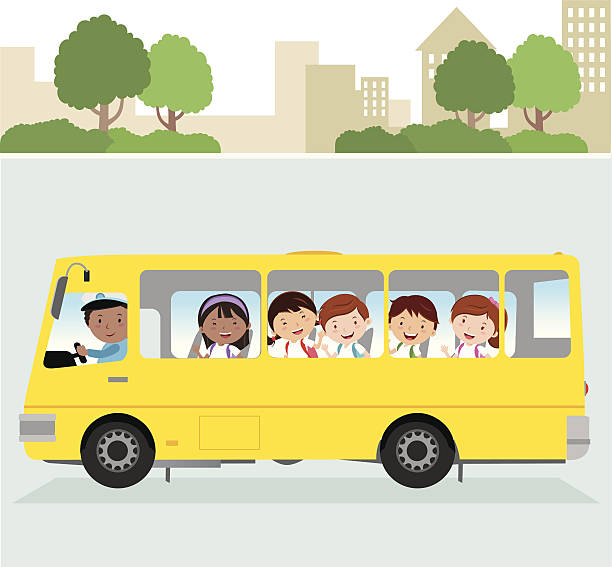 school driver and happy school kids on the road