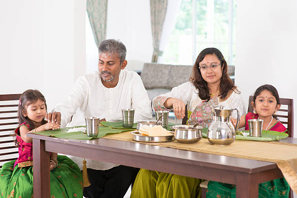 Indian family dining at home.