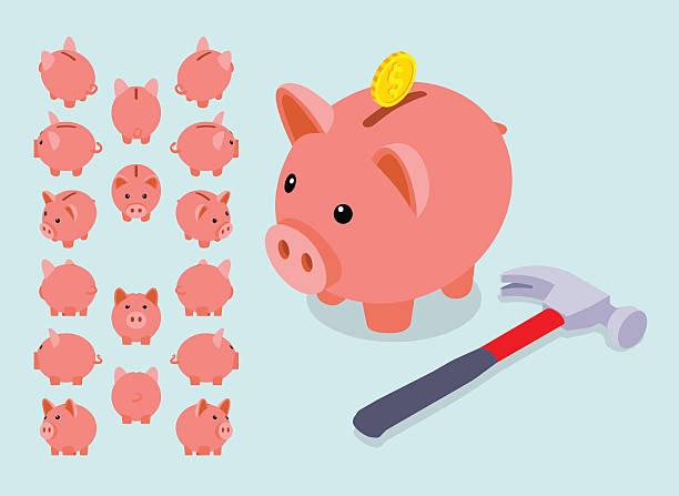 Isometric piggy bank to save money