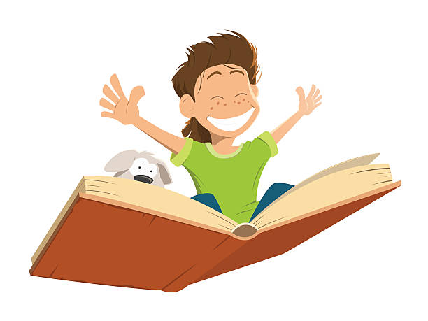 happy smile kid boy child flying on a big open book with cute puppy