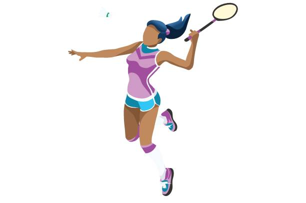 Sport background with badminton athlete playing athletics competition