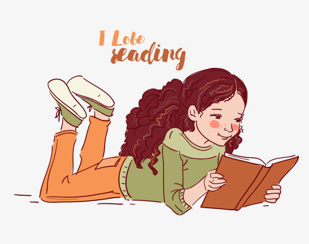 Cute little girl reading a book to learn english